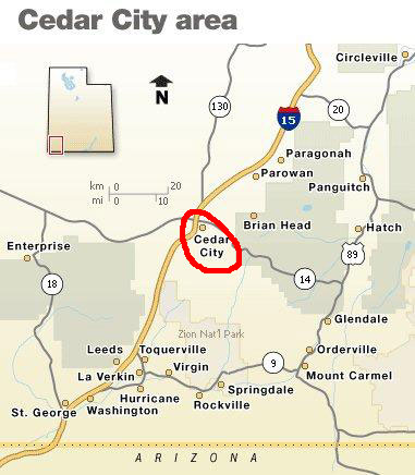 Area map and driving directions for Cedar Highlands Cedar City Map on